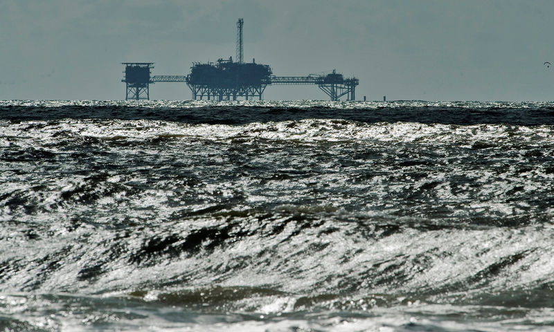 FILE PHOTO: FILE PHOTO: An oil and gas drilling platform stands offshore near Dauphin Island, Alabama, October 5, 2013. REUTERS/Steve Nesius/File Photo