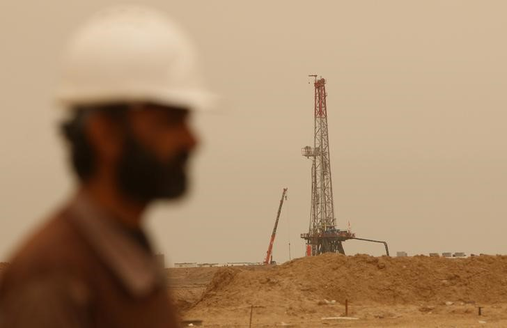 Drilling equipment is seen at the Sindbad oil field near the Iraqi-Iranian border in Basra, Iraq April 23, 2018. Picture taken April 23, 2018. REUTERS/Essam Al-Sudani